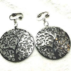 """2"""" Silver Elegant Crystal Tree Clipon Hoop Earring"""
